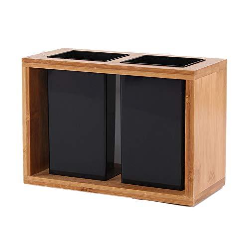 LZYANG Soporte de palillos de bambú caja de almacenamiento de vajilla independiente soporte de espátula y tarro de vajilla drenaje multifuncional estilo clásico chino (B párrafo)