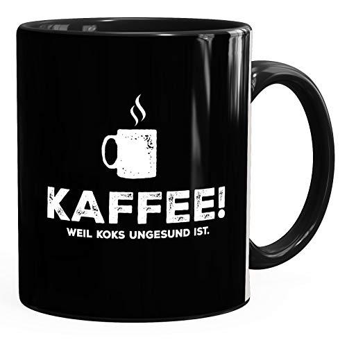 MoonWorks® Kaffee-Tasse mit Spruch Kaffee! weil Koks ungesund ist Bürotasse lustig Kaffeebecher schwarz unisize