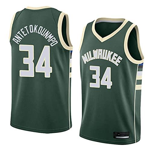 TGSCX Jerseys De Baloncesto De La NBA De Los Hombres, Milwaukee Bucks # 34 Antetokounmpo Jersey Clásico, Retro Cómodo/Ligero/Transpirable All-Stars Uniform Uniforme,Verde,L
