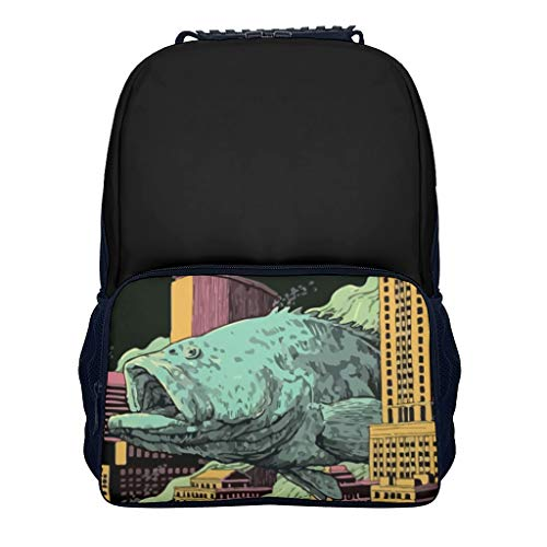 fish city blackblack Children's Kindergarten Backpack Lightweight Causal for Adult fish white onesize