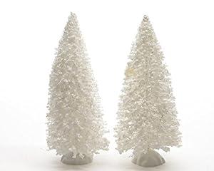 Weihnachtsdeko Deko Tischdeko Weihnachtsbaum verschneit Baum miniatur weiß H 15 cm 2 er Set