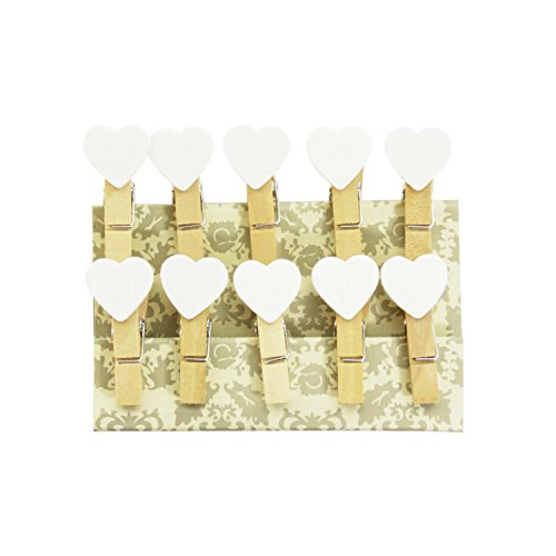 Oblique-Unique® Kleine Mini Holz Wäscheklammern Holzklammern Deko Klammern mit Motiv (weisse Herzen)