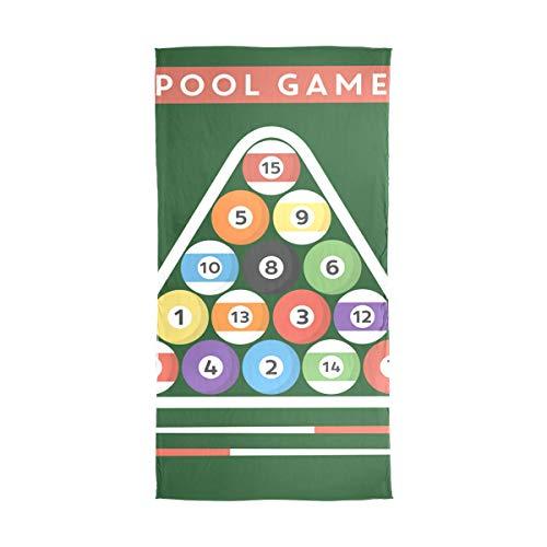MALPLENA Große weiche Seidenschal Wrap Poster Da Biliardo Pool Hall Eight Ball Pattern Schal in Uni-Farben 71x35 in