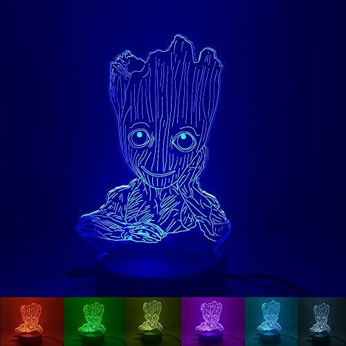 Nettes Groot-Baby 3D führte Nachtlichter mit Tabelle mit 7 Farben neben Licht für Hauptdekoration-Lampe Erstaunliche Sichtbarmachung optisch für Kindergeschenk