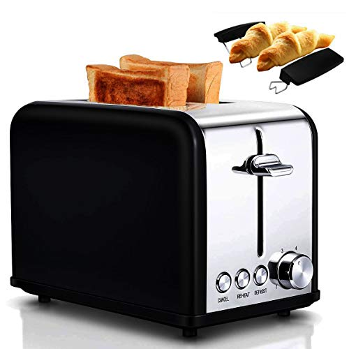 Tostapane per Toast 2 Fette, 6 Livelli di Doratura, 3 Funzioni di sgelare, riscaldamento e cancellazione Toaster Vintage con 2 Fessure Ampie, Cassettino Raccogli Briciole - Nero