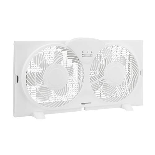 Amazon Basics Window Fan with Manual Controls, Twin 9-Inch Blades