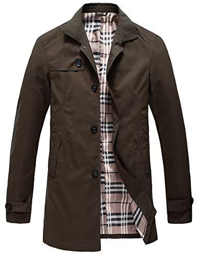 Pinkpum Herren Mantel Trenchcoat Jacke Übergangsjacke Sweatjacke Überzieher Lange Jacken (Braun 01, S)