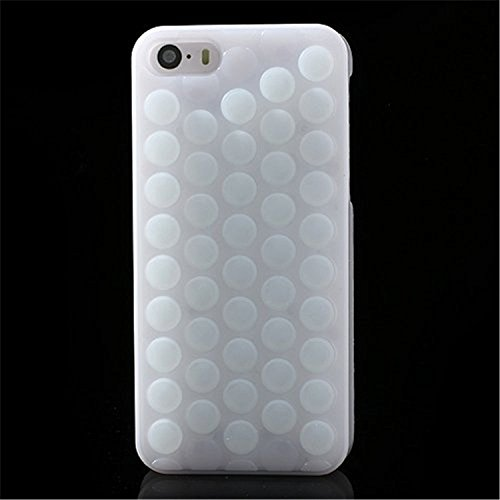 GIZEE Funny Cute Popping Decompression Bubble Wrap Back Soft Silicone Puchi Puchi Case Cover for iPhone 5 5s SE (White)