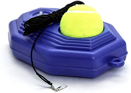 Tennis Trainer Rebounder Ball | Blue Baseboard with Rope Solo Equipment Practice Training Aid Serve Hopper Sport Exercise Base Powerbase Self-Study Rebound Power Base Cemented Rebounder Pro