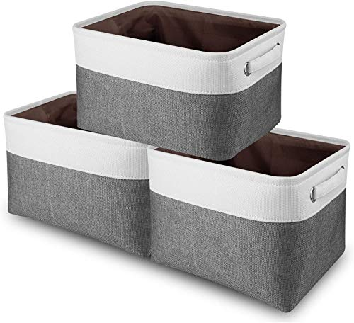 Awekris Large Storage Basket Bin Set [3-Pack,White & Gray] Storage Cube Box Foldable Canvas Fabric Collapsible Organizer with Handles for Home Office Closet Toys Clothes Kids Room Nursery