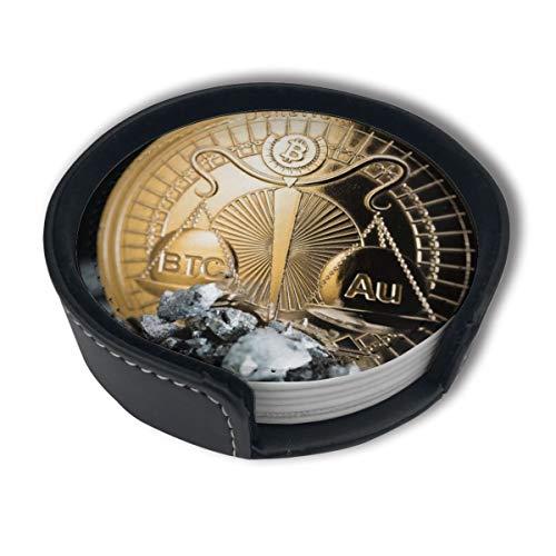BJAMAJ Denarium Bitcoin Gold Parity Premium PU Leder Untersetzer Getränke-Runde Untersetzer mit Halter-Sets, geeignet für Zuhause und Küche, 6 Stück