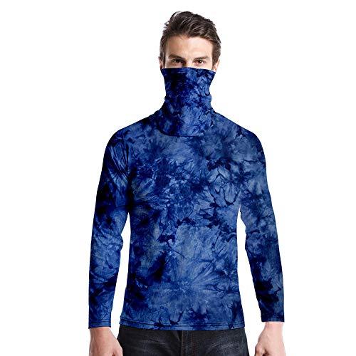 T-Shirt À Manches Longues,Casual Long Sleeve Round Neck Imprimé Tie Dye Bleu Foncé Unisex T-Shirt Tops Imprimé Chemisier Body Shirt avec Écharpe Hommes Hommes Automne Hiver Pullover Sweatshirt,
