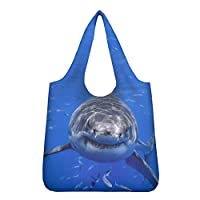 FOR U DESIGNS(JP)エコバッグ 深海のサメと魚の柄 環境保護 いろいろな図案 耐水性 創意