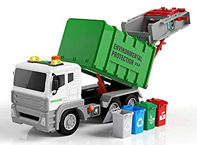 Garbage Truck Toy with 4 Rear Loader Trash Cans Dump Toy Truck Play Vehicles Car from Toyard
