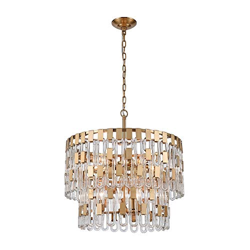 Contemporary Home Living 21.5″ Gold Blockchain 6-Light Chandelier