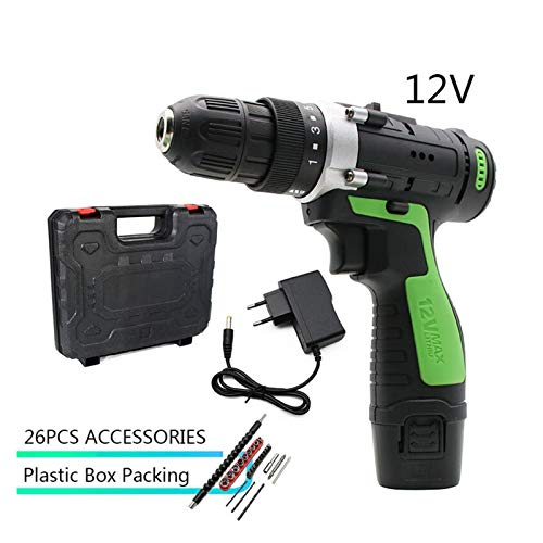 GZA 12V Max Electric Screwdriver Cordless Drill Mini Wireless Power Driver DC Lithium-Ion Battery 3/8-Inch 2-Speed Tool DIY Wood (Color : 12V SET6)