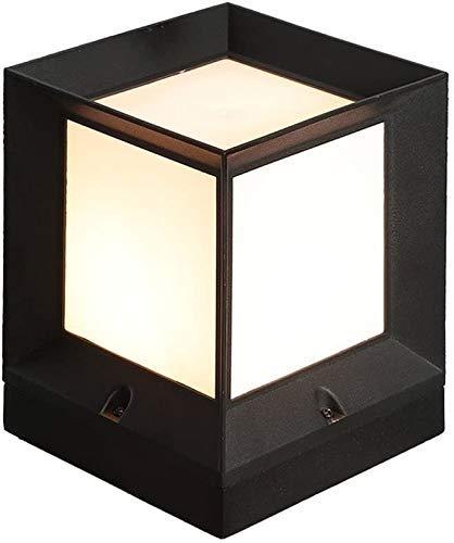 QCSMegy Lámpara de Pantalla de acrílico Cuadrada Poste de lámpara Lámpara de Columna de Aluminio Fundido a presión Negro E27 Tradicional Lámpara de Columna de Aluminio Fundido a presión de Aceite