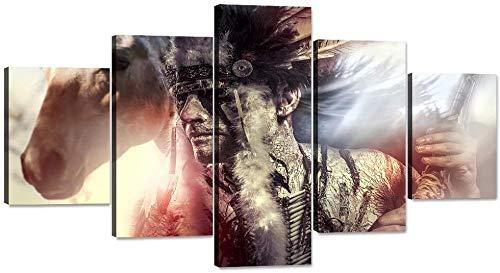 Wenoave 5 Parties Decoration Murale Photo Image Artistique - Décor À La Maison Oeuvre Native American Indian Warrior Plume Coiffe Et Cheval Wall Art 5 Pièce Paintngs Imprsans Cadre: 200X100 Cm