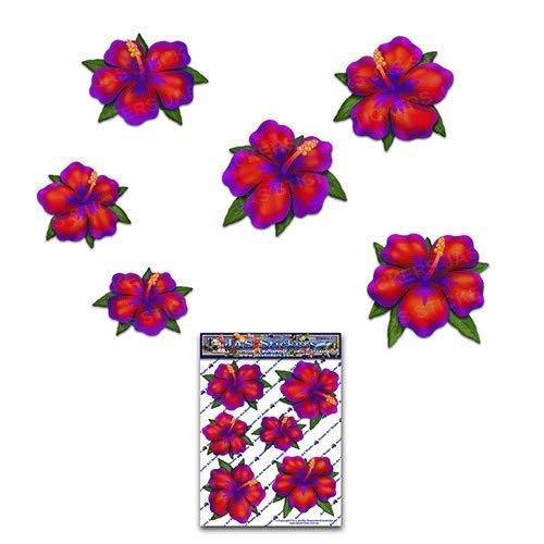 JAS Stickers® Hibiskus Blumen Auto Aufkleber - Rot - Klein Vinyl Aufkleber Pack für Laptop Gepäck Fahrrad Wohnwagen Van Wohnmobile LKW & Boote - ST00044_SML
