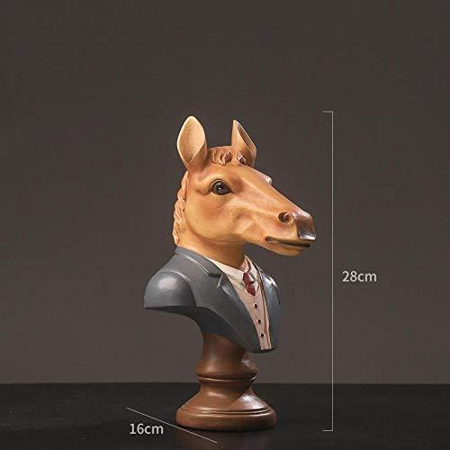 hacpigbb Simulación Cabeza De Animal Estatua Decoración Artesanía Decoración del Hogar Regalo Pintado A Mano De Resina Adecuado para Sala De Estar Dormitorio Oficina - Caballo