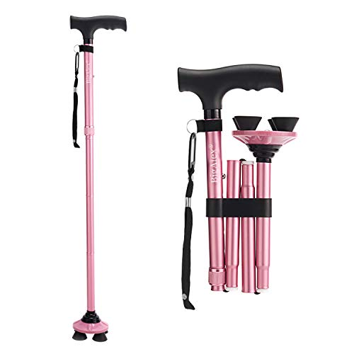 BigAlex Folding Walking Cane Adjustable amp Portable Walking StickPivoting Quad BaseLightweightCollapsible with Carrying Bag for Men/WomanPink