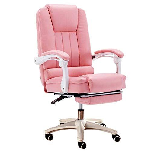 Comif- Gepolsterter Bürostuhl, Lederliege mit Beinstütze, 13 cm bequemer Sitz, 145 ° Neigung, höhenverstellbar, hohe Tragfähigkeit (Rosa)