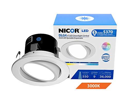 NICOR Lighting 4 inch LED Gimbal Downlight Retrofit Kit in 3000K (DLG4-10-120-3K-WH)