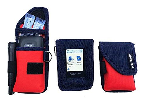Schutzhülle für Blutzuckermessgerät Freestyle Libre Modell Smart' Access MABOX–Marineblau/Orange
