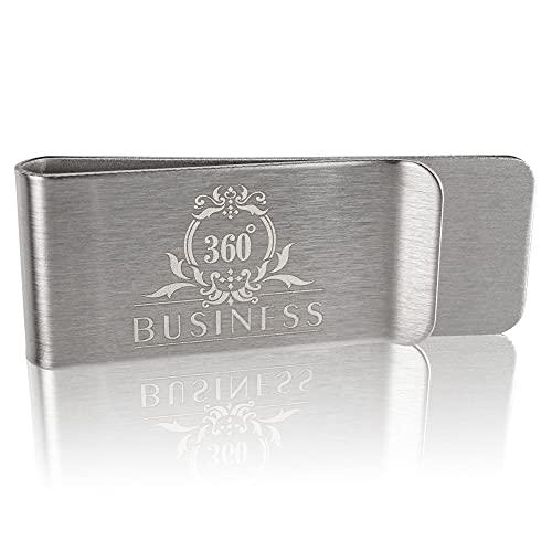 360°Business - Geldklammer Herren - Ideal zum Ausgehen - Geldscheinklammer - Für Geldscheine aus Edelstahl - Farbe Silber