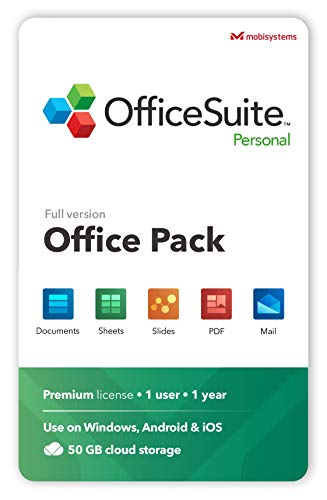 OfficeSuite Personal Compatible with Microsoft® Office Word® Excel® & PowerPoint® and Adobe® PDF - 1 Year License for 1 Windows & 2 mobile devices