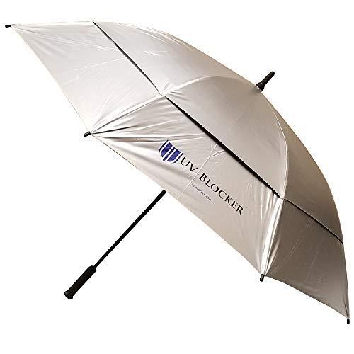 UV-Blocker Sun Golf Umbrella Large 62 Inch Automatic Open Golf Umbrella Extra Large Oversize Double Canopy Vented Umbrella Windproof Waterproof for Men and Women
