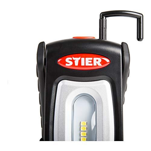 STIER Akku-LED-Werkstattleuchte | 250 Lumen | 2,5 h Leuchtdauer | 360° drehbarer Haken | für den mobilen Einsatz | Micro USB-Ladekabel |