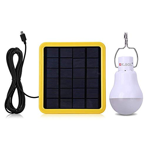 KK.BOL Solar Lamp Portable LED Light Bulb Solar Powered Rechargeable Solar Led Lights Lamp for Indoor Outdoor Emergency Light Hiking Tent Camping Night Light 180LM 1600mAh 2W Solar Panel Light Sensor