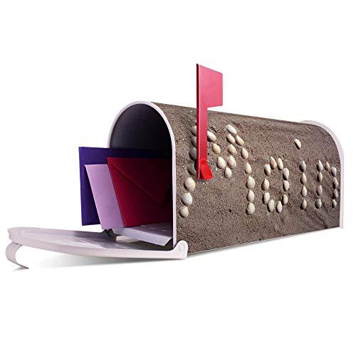 BANJADO US Mailbox | Amerikanischer Briefkasten 51x22x17cm | Letterbox Stahl weiß | mit Motiv Moin Moin, Briefkasten:ohne Standfuß - 7
