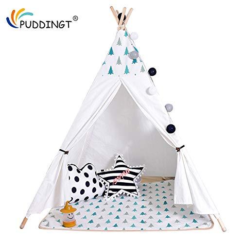 PUDDINGT Teepee Tenda Tenda da Gioco per Bambini Tenda Rosa Tipi Casetta in Stile Indiano Finestra per Interno ed Esterno