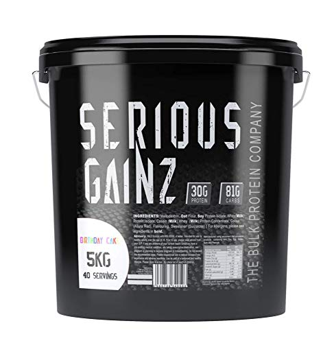 The Bulk Protein Company - SERIOUS Gainz Whey Protein Powder 5kg - Weight Gain, Mass Gainer - 30g Protein Powders - Birthday Cake Flavour