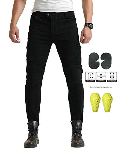GELing Herren Motorradhose Jeans Motorrad Hose Motorradrüstung Schutzauskleidung Motorcycle Biker Pants,Schwarz,M