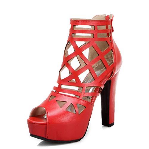 WSNBB Sandalias, Tacones Gruesos Punta Redonda Tacones Altos Ahuecados, Zapatos Tacón Color Sólido Cremallera Trasera Abierta, Zapatos Tacón Súper Altos Plataforma,Rojo,40