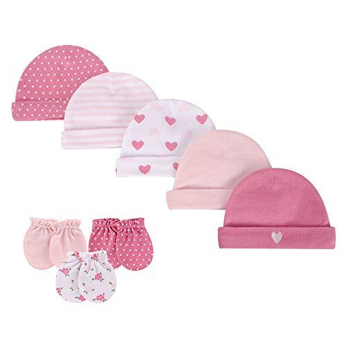 LACOFIA Neugeborenes Baby Beanie Mütze und Kratzfäustlinge Set 100% Baumwolle Kleinkind Mädchen Hüte und Handschuhe 8 PCS 0-6 Monate
