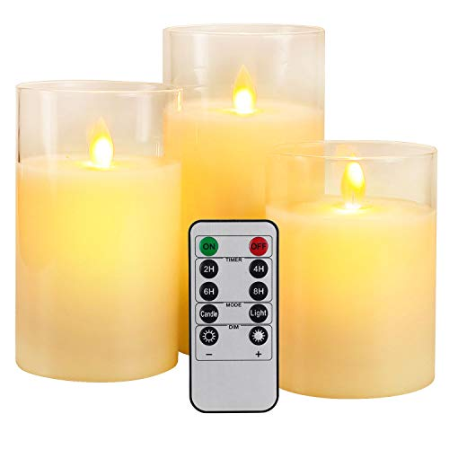Yinuo Mirror LED Flameless Candles, Battery Operated Flickering Candles Pillar Real Wax Moving Flame Electric Candle Sets Gold Glass Effect with Remote Timer, 4' 5' 6' Pack of 3 White