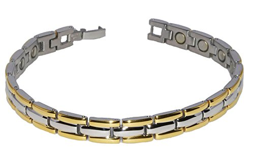 Gold and Silver Magnetic Therapy Link Fashion Bracelets for Men and Women, healing magnets for Sports, Golf, Hairstylist, Arthritis, Carpal Tunnel (Gold and Silver, 7.75)