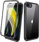 Miracase iPhone SE 2020 Hülle/iPhone 8 Ganzkörper Schutzhülle mit eingebauter Glas-Bildschirmschutzfolie, Transparent Durchsichtig Schutzhülle, Schwarz
