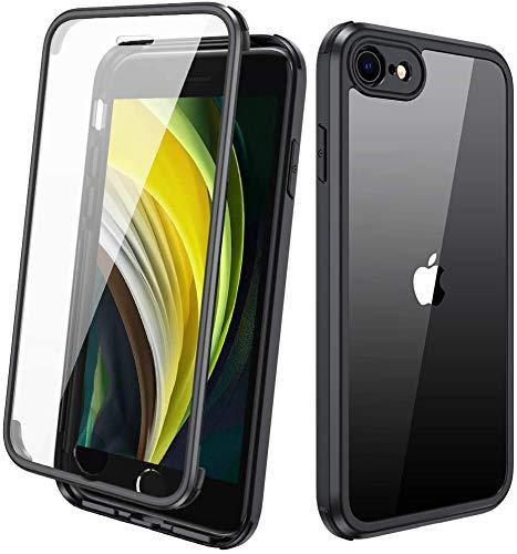 Miracase iPhone SE 2020 Hülle/iPhone 8 Ganzkörper Schutzhülle mit eingebauter Glas-Displayschutzfolie, Transparent Durchsichtig Schutzhülle, Schwarz