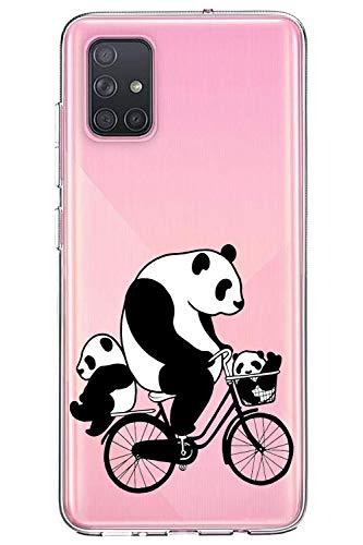 Oihxse Cristal Compatible con Samsung Galaxy A41 Funda Ultra-Delgado Silicona TPU Suave Protector Estuche Creativa Patrón Panda Protector Anti-Choque Carcasa Cover(Panda A10)
