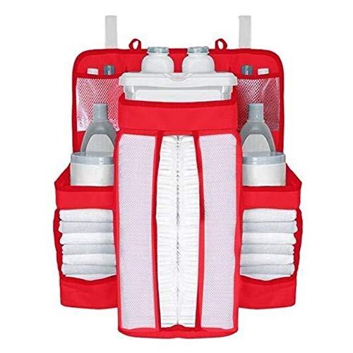 Organizadores Organizador De Pañales De Cuna Carrito De Pañales Colgante Apilador Organizador Soporte Al Lado De La Bolsa De Almacenamiento Para Juguetes Pañales Pañales Toallas Ropa ( Color : Red )