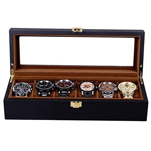 Caja de almacenamiento de relojes Caja de almacenamiento de joyas de reloj Caja de madera negra con cajón de exhibición de joyas Organizador de caja con hebilla de metal para guardar relojes y joyas