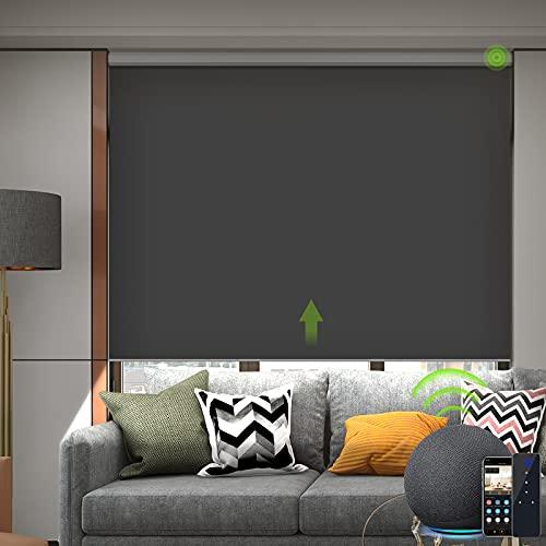 Yoolax Elektrische Rollos mit Motor Fernbedienung Alexa Google Home kompatibel Wiederaufladbar Wasserdicht 100% Verdunkelung für Büro Wohnhaus Benutzerdefinierte Größe(Dunkelgrau)