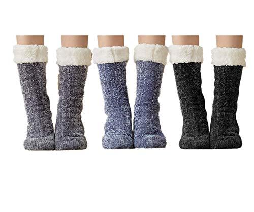 3 Paire Chaussettes de Pantoufles Hiver pour Femmes...