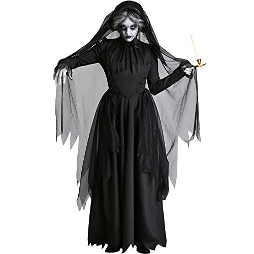 ZXMY Traje de novia del cadver de las mujeres Halloween fantasma novia bruja vampiro trajes negros vestido de miedo disfraz de halloween for mujeres (Color : Schwarz, Size : XXL)