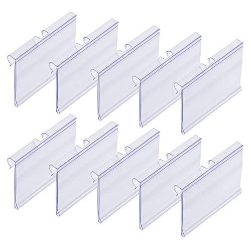 Meetory 50 Stück Etikettenhalter aus Kunststoff Transparent Preisschildhalter Kunststoff Regal Etikettenhalter für Draht-Regale für Preisetiketten zur Waren-Beschilderung (6 cm x 4.2 cm)